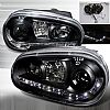 2003 Volkswagen Golf   Black R8 Style Halo Projector Headlights  W/LED'S