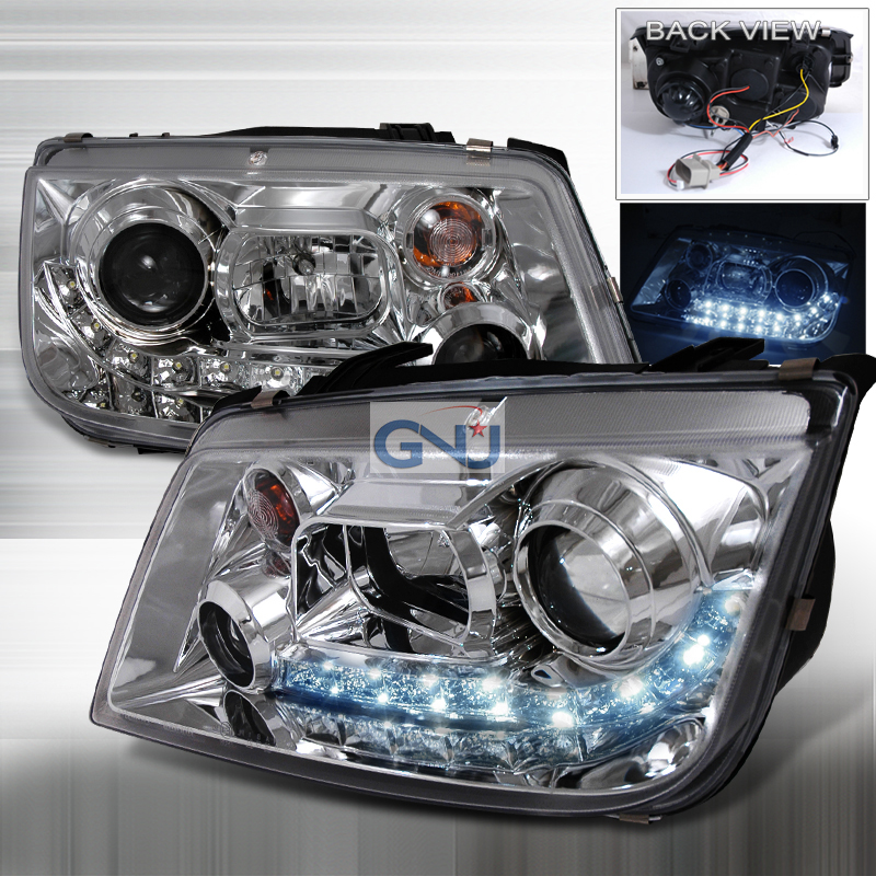 Volkswagen Jetta  1999-2004 Chrome R8 Style Halo Projector Headlights  W/LED'S