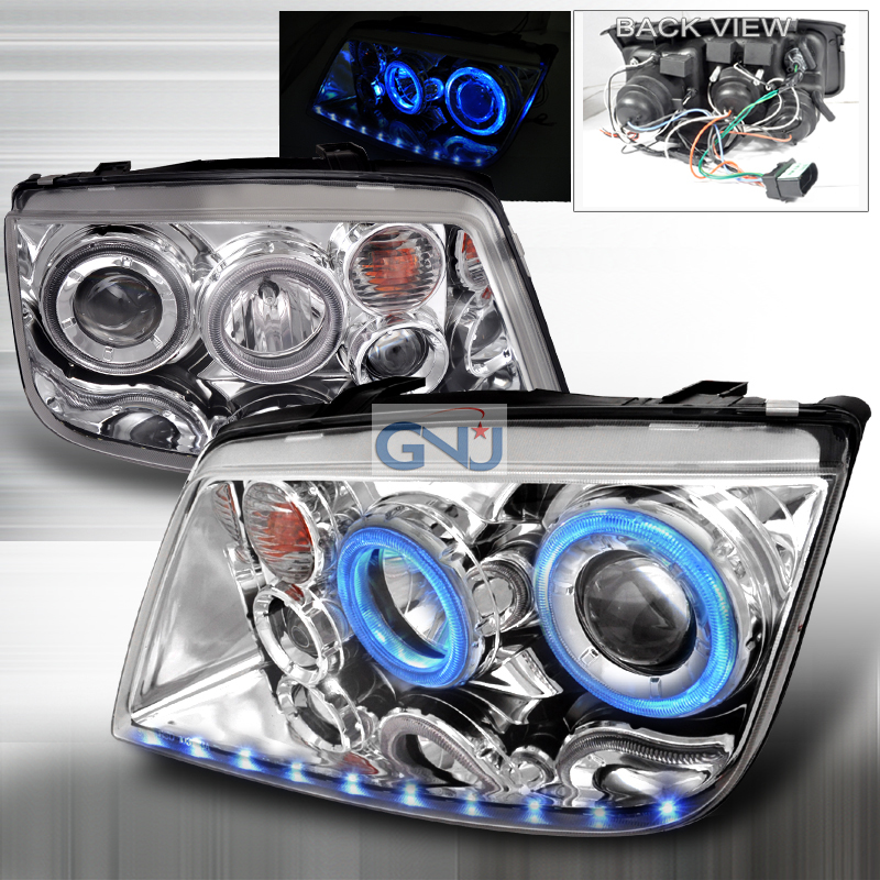Volkswagen Jetta  1999-2004 Chrome Dual Halo Projector Headlights  W/LED'S