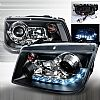 Volkswagen Jetta  1999-2004 Black R8 Style Halo Projector Headlights  W/LED'S