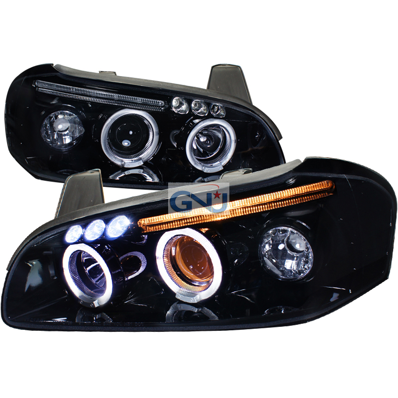 Dual Halo Projector Headlights Black Pair w// LED For 2000-2001 Nissan Maxima