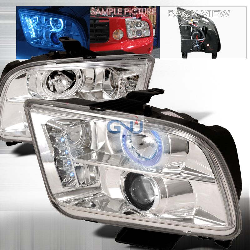 Ford Mustang  2005-2009 Chrome Halo Projector Headlights  W/LED'S