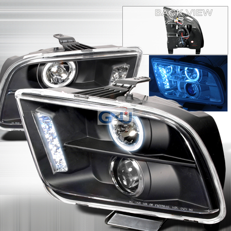 Ford Mustang  2005-2009 Black Halo Projector Headlights  W/LED'S