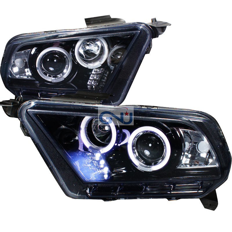 Ford Mustang  2010-2013 Gloss Black  Projector Headlights Smoke Lens