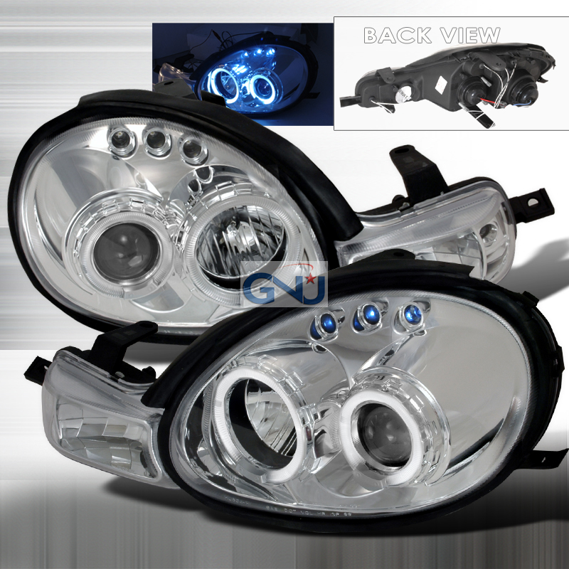 Dodge Neon 2000-2002 Halo LED  Projector Headlights - Chrome