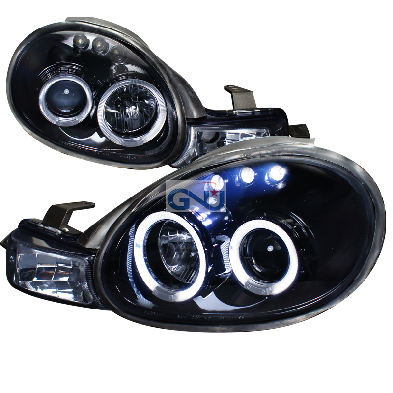 Dodge Neon  2000-2002 Gloss Black  Projector Headlights Smoke Lens