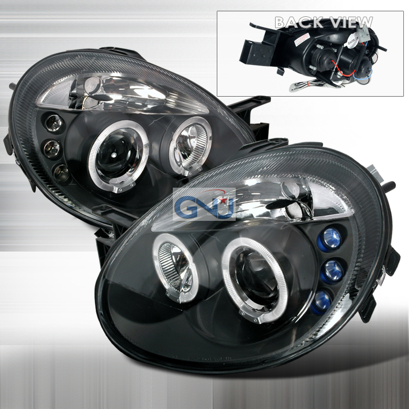 Dodge Neon  2003-2005 Black Halo Projector Headlights  W/LED'S