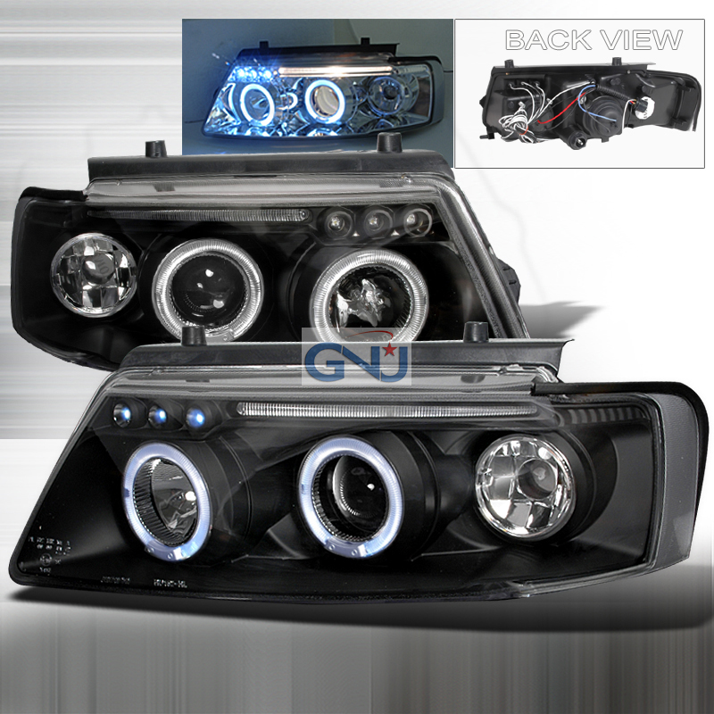 Volkswagen Passat  1997-2000 Black Halo Projector Headlights  W/LED'S