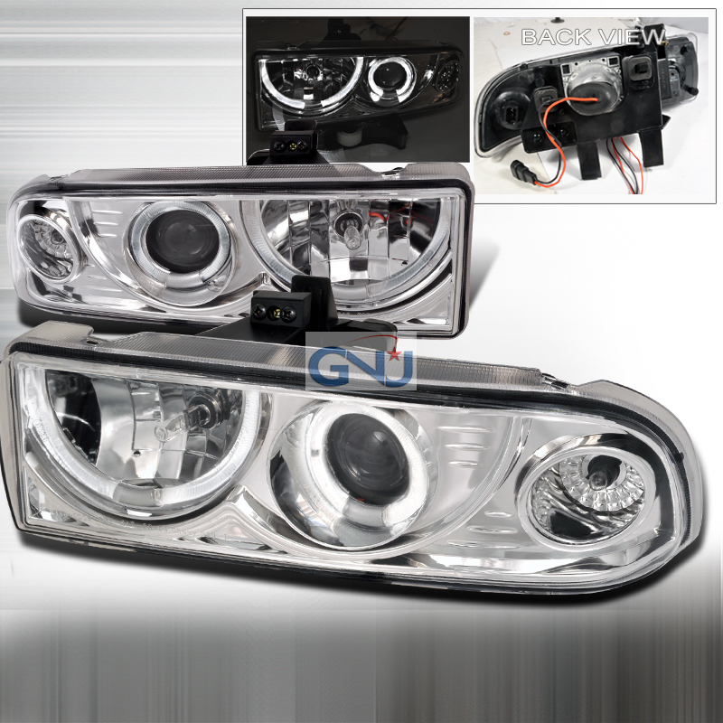 Chevrolet S10 Pickup  1998-2004 Chrome Dual Halo Projector Headlights