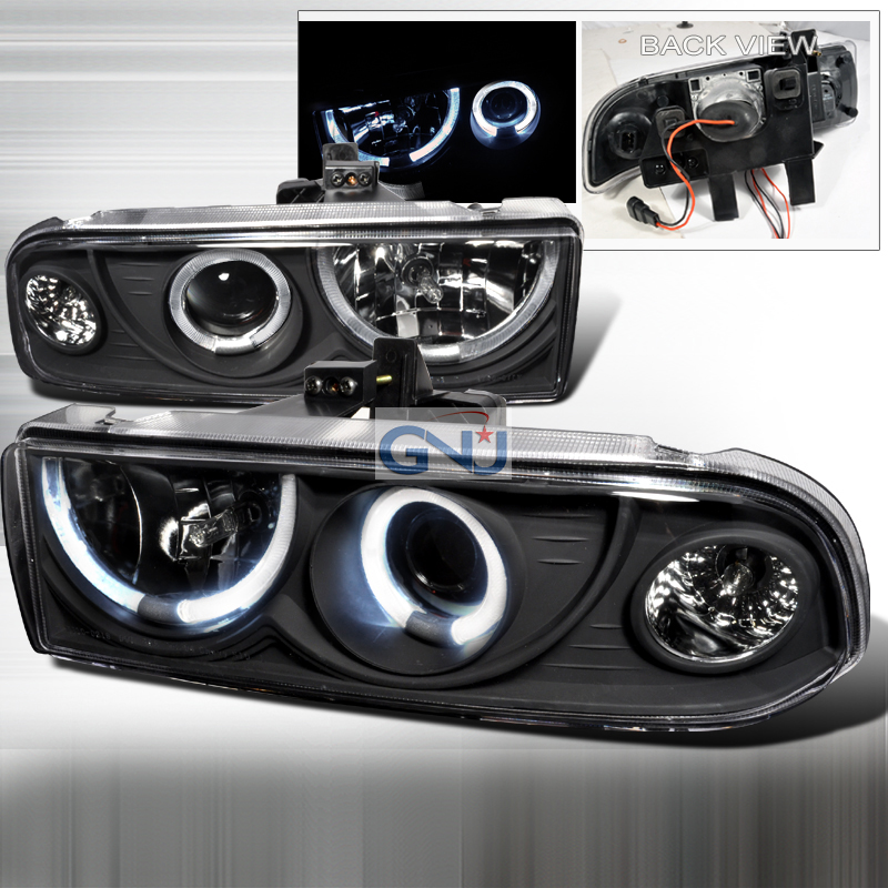 Chevrolet S10 Pickup  1998-2004 Black Dual Halo Projector Headlights