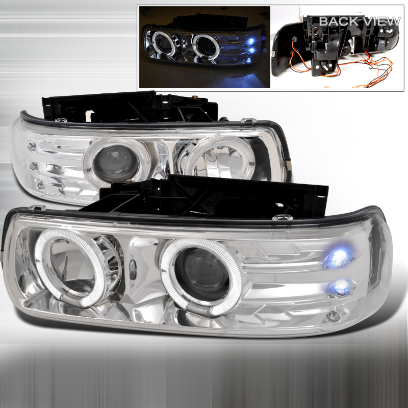 Chevrolet Suburban  2000-2006 Chrome Dual Halo Projector Headlights  W/LED'S