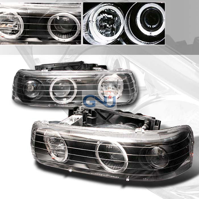 Chevrolet Silverado 1999-2002 Halo  Projector Headlights - Black