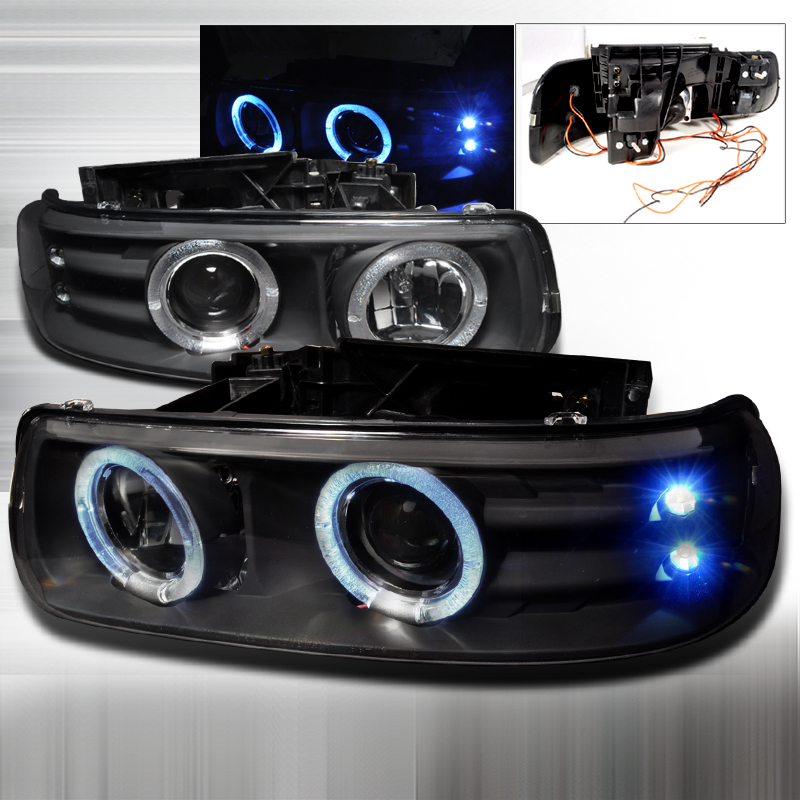 Chevrolet Suburban  2000-2006 Black Dual Halo Projector Headlights  W/LED'S
