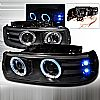2002 Chevrolet Tahoe   Black Dual Halo Projector Headlights  W/LED&apos;S