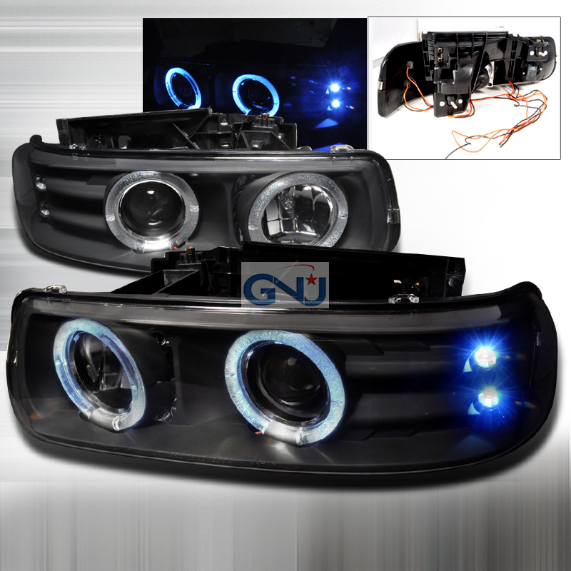 Chevrolet Silverado  1999-2002 Black Dual Halo Projector Headlights  W/LED'S