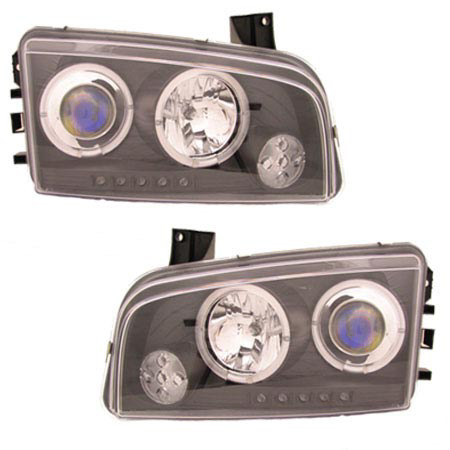 Dodge Charger 2005-2010 Black Projector Headlights