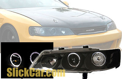 Honda Accord 94-97 Projector Headlights Black/Clear