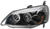 2002 Honda Civic  Projector Headlights w/Rim Black/Clear