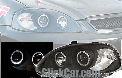Honda Civic 96-98 JDM Style Projector Headlights w/Rim Black/Clear