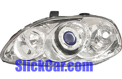 Honda Civic 99-00 Projector Lamp w/Rim Chrome/Blue