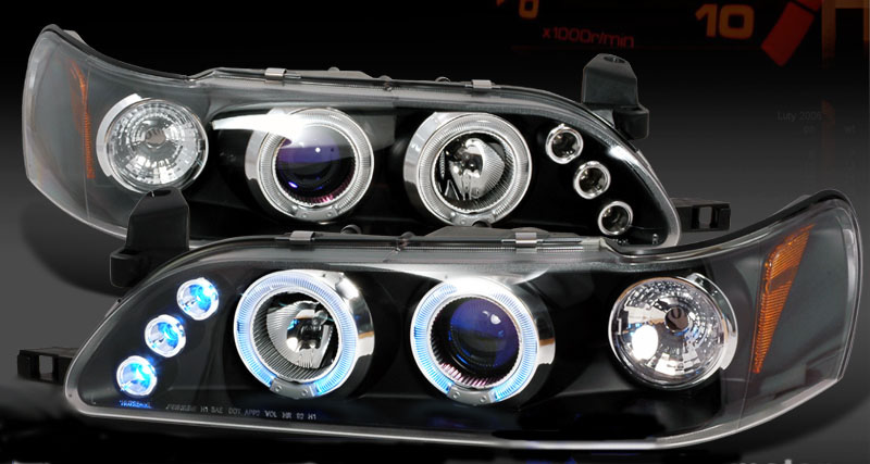 Toyota Corolla 93-97 Black One Peice Projector Headlights