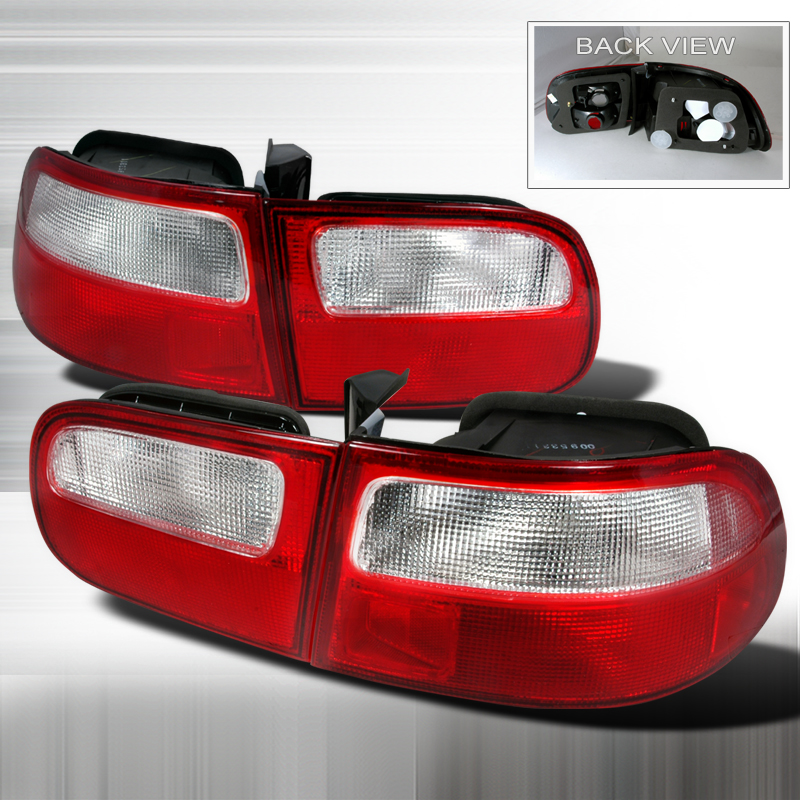 Honda Civic 3 Door 1992-1995 Red / Clear Euro Tail Lights