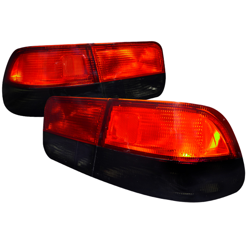 Honda Civic Coupe 1996 2000 Red Smoke Euro Tail Lights By