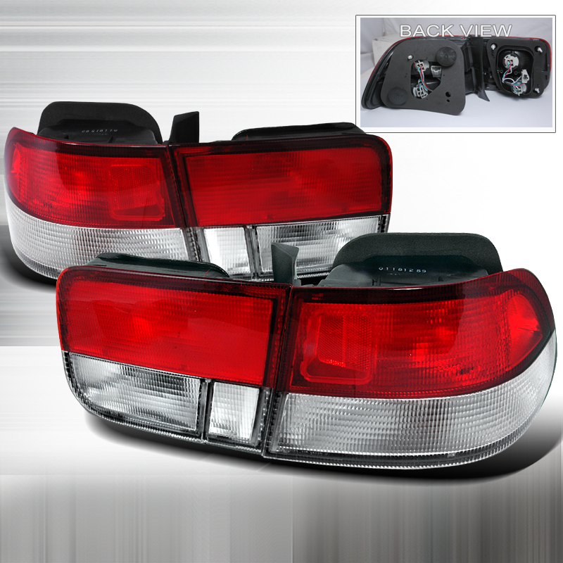 Honda Civic 2 Door 1996-2000 Red / Clear Euro Tail Lights