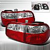2000 Honda Civic 4 Door  Red / Clear Euro Tail Lights