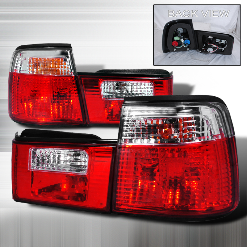Bmw 5 Series  1989-1994 Red / Clear Euro Tail Lights