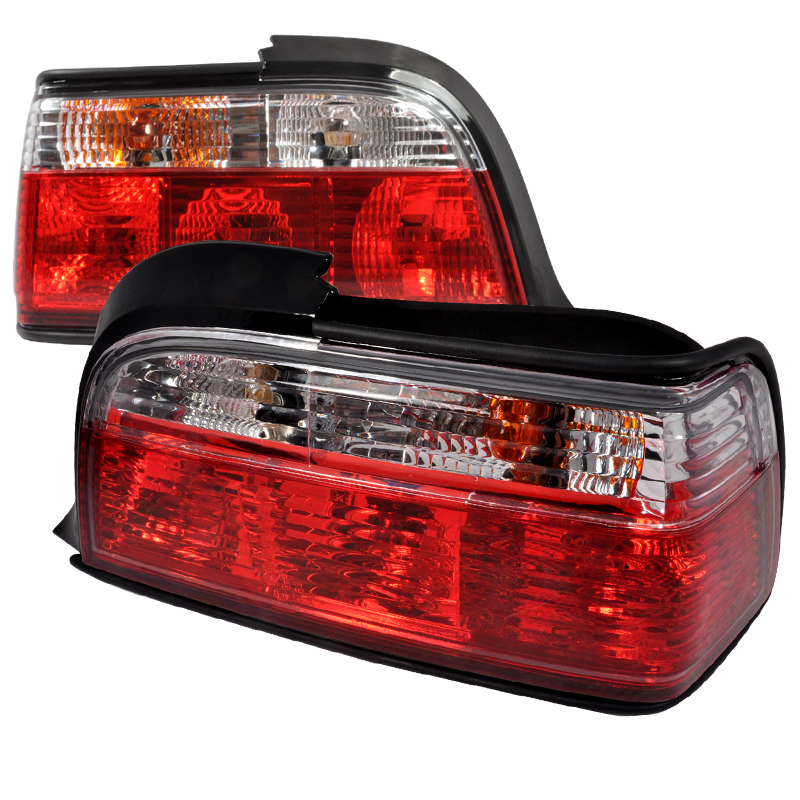 Bmw 3 Series 2 Door 1992-1998 Red / Clear Euro Tail Lights
