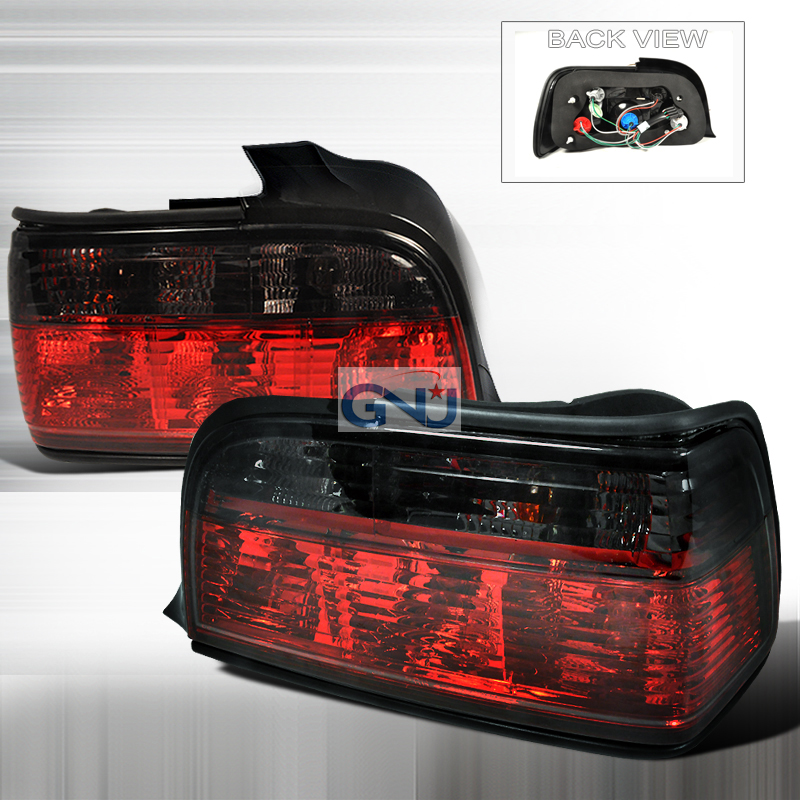 Bmw 3 Series 4 Door 1992-1998 Red / Smoke Euro Tail Lights