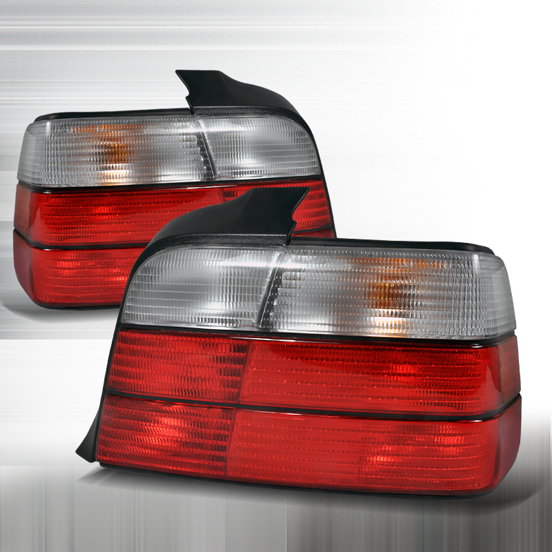 Bmw 3 Series 4 Door 1992-1998 Red / Clear Euro Tail Lights