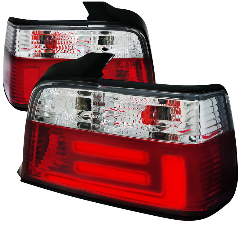 Bmw 3 Series Sedan 1992-1998 Red / Smoke Euro Tail Lights
