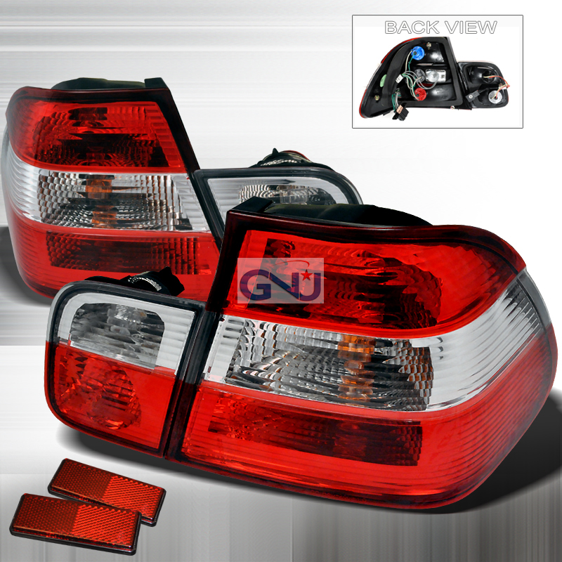 Bmw 3 Series 4 Door 1999-2001 Red / Clear Euro Tail Lights
