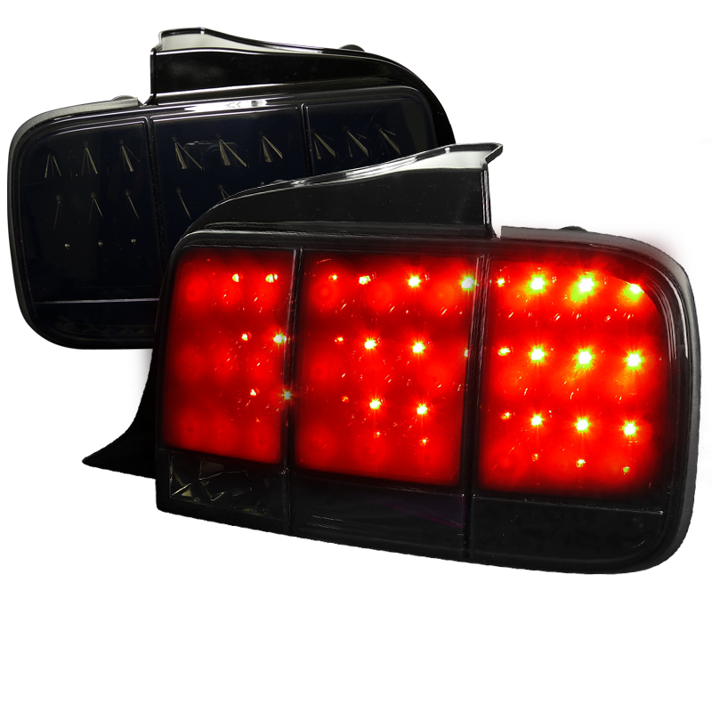 Ford Mustang  2005-2009 Glossy Black W/ Smoked Lens LED Tail Lights