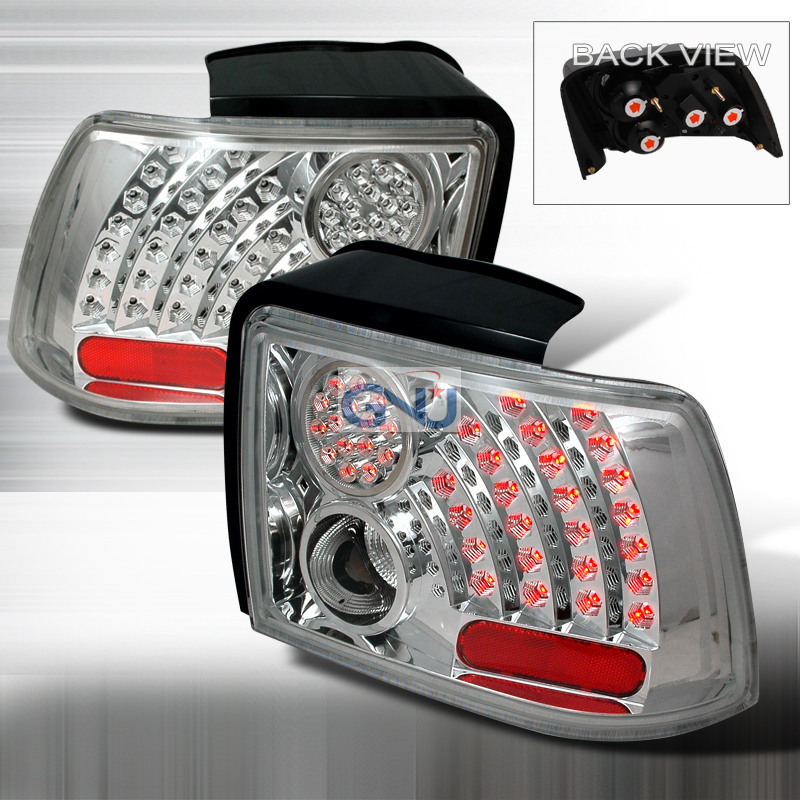 ford mustang 1999 2004 chrome led tail lights by spec d. Black Bedroom Furniture Sets. Home Design Ideas