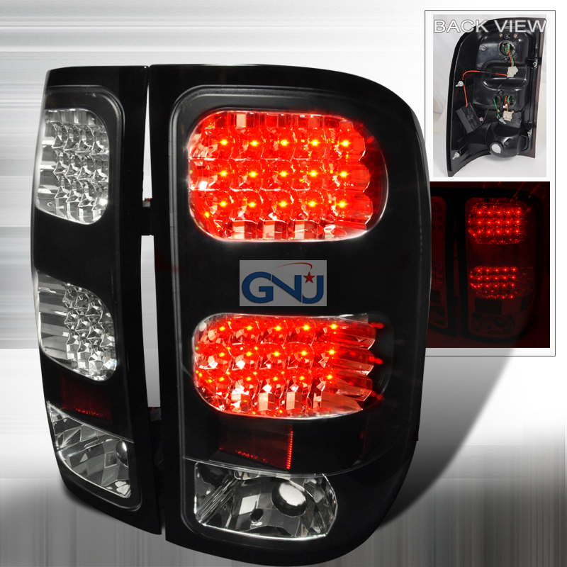 gmc sierra 2007 2012 black led tail lights by spec d lt. Black Bedroom Furniture Sets. Home Design Ideas