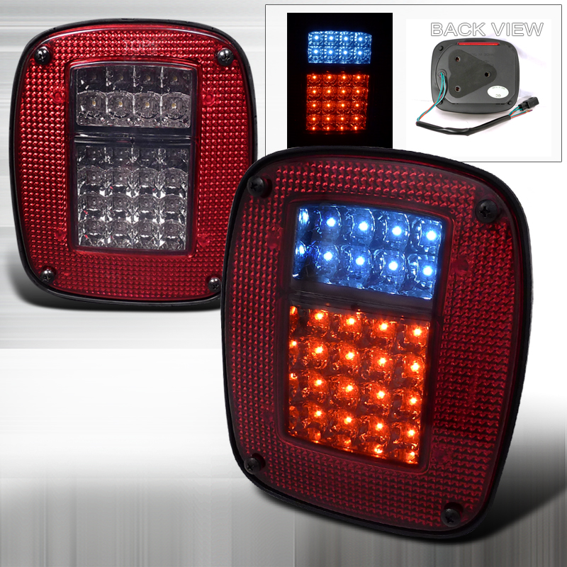 Jeep Wrangler  1987-2006 Red / Smoke LED Tail Lights