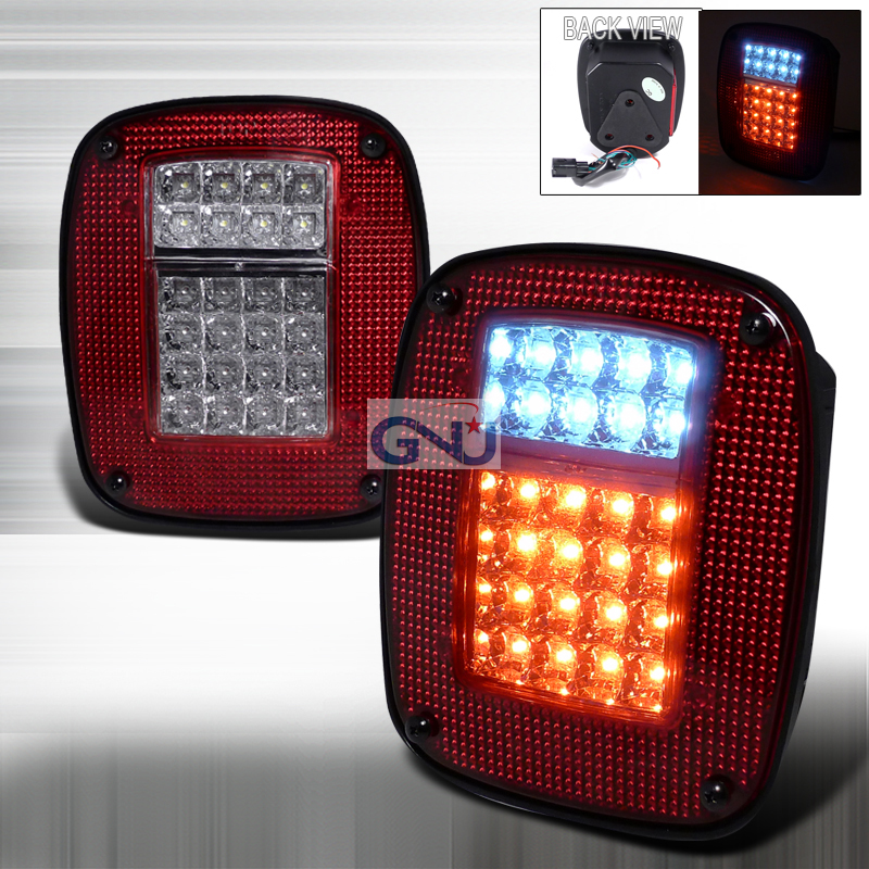 Jeep Wrangler  1987-2006 Red LED Tail Lights
