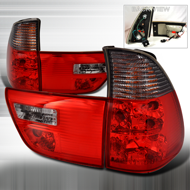 Bmw X5  2000-2005 Red / Smoke Euro Tail Lights