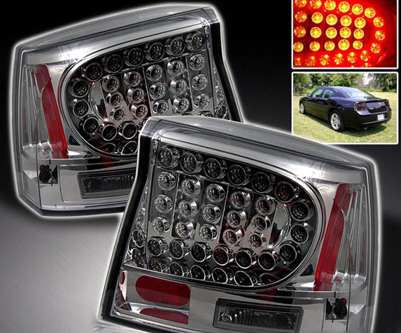 Dodge Charger 2005-2008 Chrome Housing with Smoked Lens LED Tail Lights