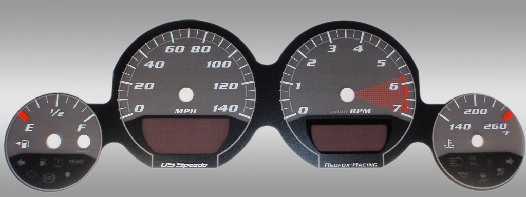 Dodge Charger 2005-2009 Base Black / Silver Night Performance Dash Gauges