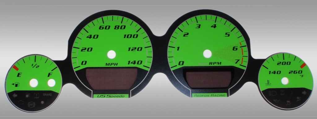 Dodge Challenger 2009-2009 Base Green / Green Night Performance Dash Gauges