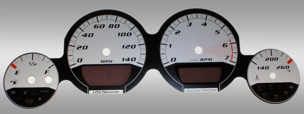 Dodge Charger 2005-2009 Base Silver / Silver Night Performance Dash Gauges