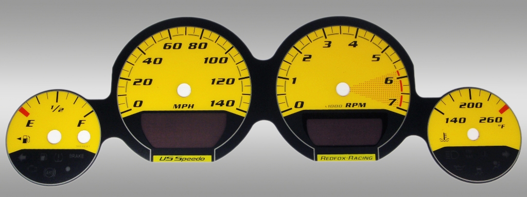 Dodge Challenger 2009-2009 Base Yellow / Yellow Night Performance Dash Gauges