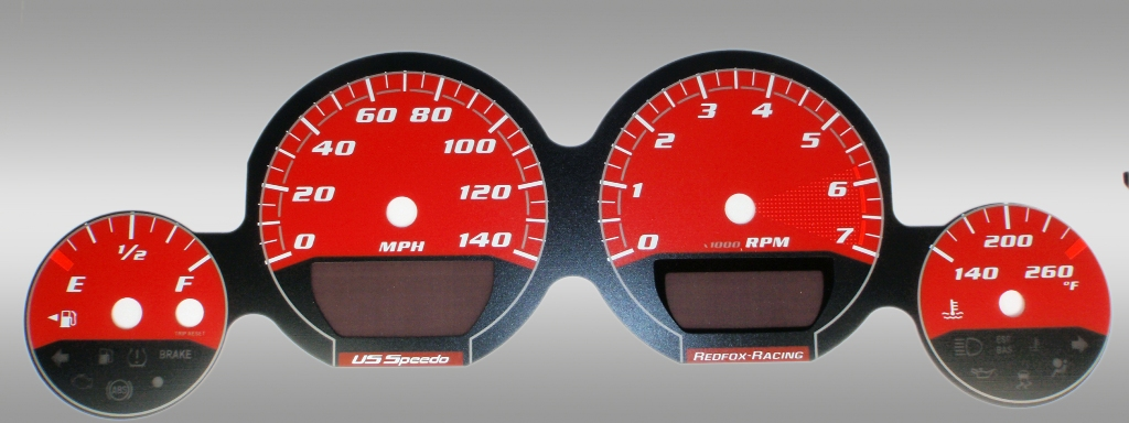 Dodge Magnum 2005-2009 Base Red / Red Night Performance Dash Gauges