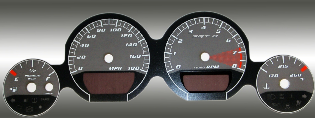 Dodge Charger 2005-2009 Srt8 Black / Silver Night Performance Dash Gauges