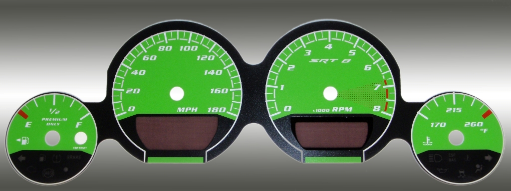 Dodge Charger 2005-2009 Srt8 Green / Green Night Performance Dash Gauges