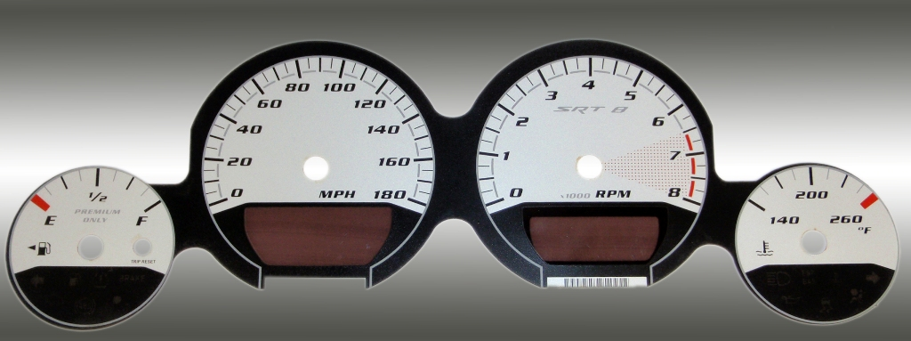 Dodge Challenger 2009-2009 Srt8 Silver / Silver Night Performance Dash Gauges